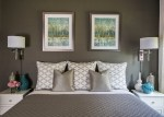 Blooming Turquoise and Silver Bedding Bedroom Transitional with Plug in Wall Sconce Leaning Mirror White Gray Chrome Chandelier Gray Coverlet Linen Drapes Art