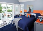 Brilliant Blue Boys Bedroom Bedroom Beach Style with Modern Art Tracey Butler Beach Kids Orange Accents Navy and Grey Teen Room Metal Furniture R. Home interior Design Store