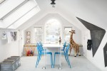 Brilliant Giraffe Baby Room Kids Contemporary with Vaulted Ceiling Chalkboard Wall Decals Modern Luxury Blue Metal Chairs Stuffed Arched Windows Palladian Window Rolling Table Seat