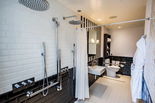 Delightful Cabana Stripe Shower Curtain Bathroom Victorian With Wall-mounted Sink And White Tile Floor Black And White Stripes Tile Wall Rain Shower