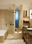 Delightful Colors Of Travertine Bathroom Contemporary with Beige Stone Showers Built-in Wood Shelves Shower Shelf Dark Vanity Vessel Sink Frosted Glass Cabinet Window Corner Bathroom