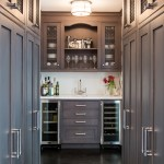 Delightful Pictures Of Butlers Pantry Home Bar Transitional With Brown Cabinets And Wire Mesh Cabinets Beer Refrigerator Brown Cabinets Butler Sink