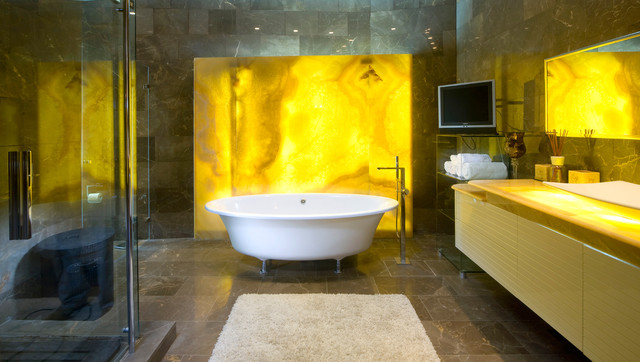 Extraordinary Clawfoot Tub Images Bathroom Contemporary With Bathroom Tv And Tile Floor Accent Wall Backlighting Bath Accessories Bath Fixtures