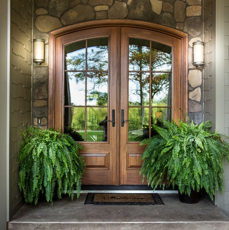 Extraordinary Front Door Mats Entry Craftsman With Potted Plants And Reflective Glass Arched Entry Covered Front Porch Custom Homes Double Doors