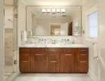 Extraordinary Mirrored Vanities For Bathroom Bathroom Contemporary with Modern Bath Custom Cabinetry White Marble Floor Hardware Calacatta Backsplash Wood Vanity Clean