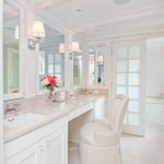 Glorious Bathroom Vanity Chair With Back Bathroom Transitional With Light Beige Floor And Undermount Sink Comfortable Chair Floral Arrangement Fully