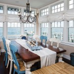 Glorious Blue Roman Shade Dining Room Beach Style With White Baseboard And Home Decor Blue Dining Chairs Coastal Living Dark Floor Home Decor Long