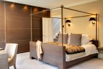 Glorious Four Poster Bed Frame Bedroom Transitional with Wall Lamps Metal Built in Wardrobe Master Bedroom Cushions