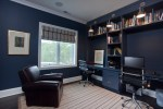 Good-looking Paint Color Ideas For Home Office Home Office Contemporary with Leather Club Chair Built-in Desk White Wood Roman Shades Navy Blue Walls Striped Rug Task Wall Lighting