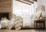 Good-looking Pottery Barn Bassinet Bedding Bedroom Contemporary with Furry Stool Upholstered Headboard Beige Sloped Ceiling Wood