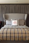 Imaginative Upholstered Wingback Bed Bedroom Contemporary with Throw Pillows Plaid Bedding Decorative Headboard Neutral Colors