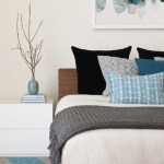 Lovely Area Rug For Bedroom Contemporary With Blue Throw Pillows And Sidetables And End Tables Abstract Art Blue And Grey Area Rug Pillows Throw