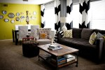 Magnificent Yellow and Grey Chevron Curtains Living Room Eclectic with
