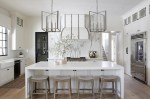 Marvelous Kitchen Pictures Kitchen Transitional with White Black and Counter Stools Under Island Storage Casual Elegance Window Over Sink Large Light Fixture Custom Vent Hood Waterfall