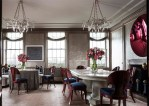Pleasing John Murray Architect Dining Room Contemporary with Upholstered Seat Dining Chairs Sheer Window Treatment Pink Flowers Gray Wallpaper Skirted Table Egg and Dart Molding Dark Blue Seats White