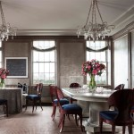 Pleasing John Murray Architect Dining Room Contemporary With Fireplace Andirons And Skirted Table Ceiling Trim Dark Blue Seats Wood Dining Chairs