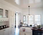 Pleasing Knobs Lowes Chic Style Shabby with Louvered Doors Country Kitchen Wood Countertops Apron Sink Low Glass Front Cabinets Shaker Style Farmhouse Double Hung Windows Farm House White