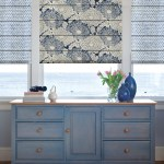 Pretty Blue Roman Shade Beach Style Flat Fold Roman Shade with Print Shades Printed Drawer Storage Powdered Cabinets Window Treatments