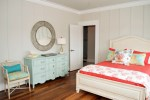Pretty Dresser Mirror Ideas Bedroom Tropical with White Door Wood Floor Coral Throw Pillow Beige Trim Orange Coral Bedding Light Blue Wall Panel Round