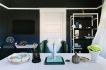 Splendid Black Lacquer Trays Los Angeles Home Office with Bookcase Accessories Dark Gray Paint Linen Curtains Mirrored Pendant Leather Chair Stacked Books Green Chairs Bookshelves