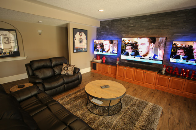 Terrific Sectional Ideas Basement Eclectic With Black Sectional Sofa And Multiple Tvs Backlighting Basement Movie Room Tv Black Sectional Couch Ideas