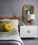 Awesome Brass Nightstand Bedroom Transitional with Brass Mirror Textured Gray Wall Bedroom Gold Framed Mirror Yellow Pillow Orange Headboard Carpet Cloth Shade For Lamp Ball
