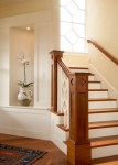 Beautiful Cedar Key Paint Staircase Victorian with Wood Floors Craftsman Stairs Cutouts Traditional Stairs Molding Unique Spindles Niche For Plant Diamond Mullions in Foyer