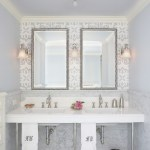 Beautiful Double Sink Console Bathroom Traditional With Chandelier And Marble Floor Chandelier Console Sink Crown Molding Double Vanity Marble Floor