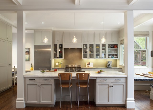 Beautiful Gast Architects Traditional Center Of Attention With Glass Front Cabinets And Counter Stools Banquette Seating Bead Board Coffered Ceiling