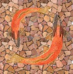 Blooming Sliced Pebble Tile Other Rustic with Red Tiles Chinook Salmon Shower Floor Fish Ceramic Micro Mosaic