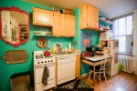 Blooming Small Apartment Stove Kitchen Eclectic with Studio Apartment Enamel Kitchen Table Mexican Tray Large Mirror Open Shelf Storage Turquoise Paint Rental New York City