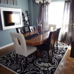 Brilliant Black And White Damask Drapes Dining Room Eclectic With Contrasting Chairs And Black And White Black And White Rug Dining Chairs Blue Walls