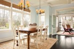 Brilliant Shades For French Doors Dining Room Traditional with Coffered Ceiling Neutral Colors Dark Hardwood Flooring Seating Area Roman Wood Floors White Trim Blue Walls Farmhouse