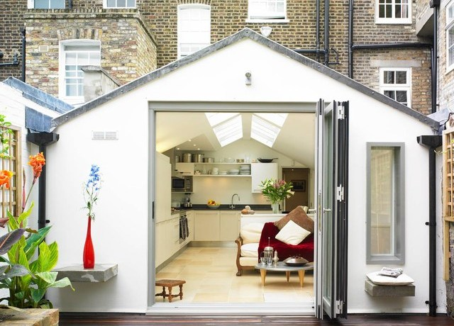 Delightful Tri Fold Doors Exterior Victorian With Concrete Shelves And Wood Flooring Concrete Shelves Folding Doors Wall Sliding Vaulted Ceilings Wood