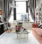 Dishy Pink Bookcase Ikea Living Room Eclectic with Glass Coffee Table Window Sill White Round Dining Table Tufted Sofa Open Shelving Unit White Area Rug Round Dining Chandelier Curtains