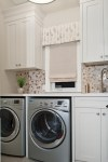 Dishy White Cabinets For Laundry Room Laundry Room Transitional with Roman Shade Recessed Round Mosaic Tile Bridge Faucet Walls Countertop