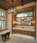 Fabulous Bathroom Light Fixtures Bathroom Contemporary with Peaceful Marble Floor Wall Sconces Lighting Ribbon Window Exposed Beams Elegant Design