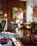 Glorious Painting Brick Walls Living Room Traditional with Vintage Furniture Chandelier Antique Wall Designer Showcase Layered Rugs Floral Upholstery Decor Eclectic interior