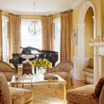 Glorious Pale Yellow Curtains And Drapes Living Room Victorian With Gold Coffee Table And Window Seat Antique Chairs Arch Doorway Arched Bay Window