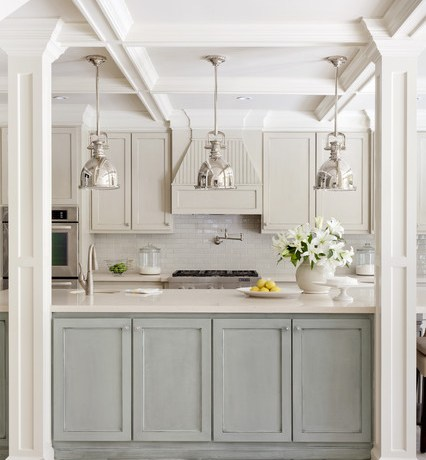 Glorious Sherwin Williams Nuthatch Kitchen Transitional With Gray Cabinets And White Counters Coffered Ceiling Frame And Panel Gray Cabinets Pendant