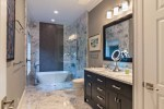 Good-Looking Walk in Bathroom Showers Bathroom Transitional with Double Sink His Hers and Tubs inside Black Mirror Chrome Faucet Glass