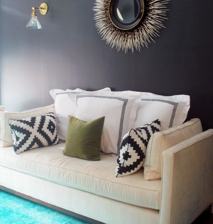 Good-looking Porcupine Mirror Bedroom Contemporary With Leather Chair And Interior Design Details Black Paint Room Canvas Wall Art Carpet Flooring