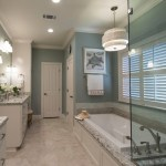 Good-looking Revere Pewter Bathroom Bathroom Beach Style with Silver Mist Paint Drop in Tub Glass Shower Enclosure Regina andrews Capiz Shell Orbit Pendant Praa Sands Quartz Praa Sands Cambria Vihara