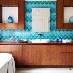 Imaginative Blue And Green Bathroom Bathroom Contemporary With Roman Blinds And Scallop Tiles Bamboo Bathroom Cabinets Bamboo Cabinetry Vanity