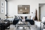 Imaginative Small Apartment Living Living Room Contemporary with Clear Coffee Table Wall Mirror Side Throw Blanket Floor Lamp Polka Dot Rug Accessories Black Sofa Above Bright and