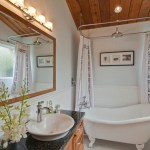 Magnificent Cedar Key Paint Bathroom Transitional With Shower Curtain And Makeup Lighting Clawfoot Tub Freestanding Bathtub Granite Counter Makeup