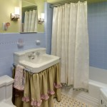 Marvelous Blue And Green Bathroom Traditional Twin Girls' Playroom & Bathroom | Che Bella Interiors With Garden Stool And Blue And Yellow Floor Tile
