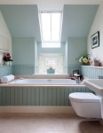 Outstanding Blue and Green Bathroom Bathroom Transitional with Tub Window Tankless Toilet Deck Mount Filler Walls Bath Tongue Groove Tongue