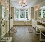 Outstanding How To Make A Makeup Vanity Desk Bathroom Traditional with Master Bath Crown Molding Tile Floors His and Hers Her Bathroom Suite Marble