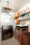 Outstanding Stainless Steel Floating Shelf Laundry Room Eclectic with Pendant Lighting Appliances Tile Flooring Collection Shelves Wicker Hamper Utility Tub Wall Decor